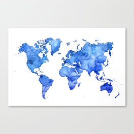 Cobalt blue watercolor world map Canvas Print