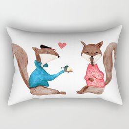 Squirrels In Love - PAINTED Rectangular Pillow