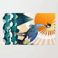 crane Area & Throw Rugs featuring Crowned Crane by Sandra Dieckmann