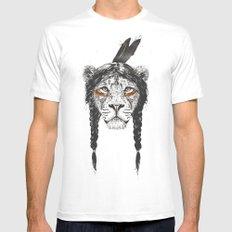 Warrior lion White MEDIUM Mens Fitted Tee