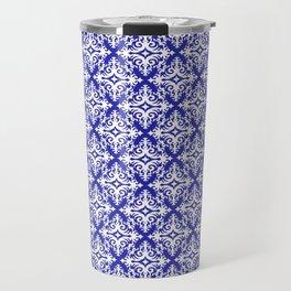 Damask (White & Navy Blue Pattern) Travel Mug