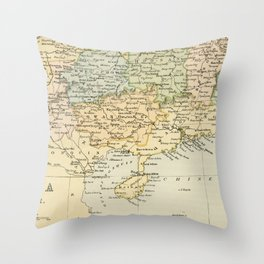 Vintage Map of The South Of China Throw Pillow