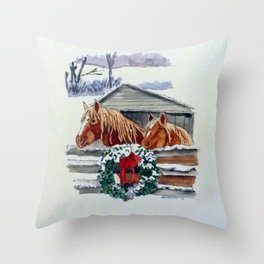 Christmas Ponies Throw Pillow