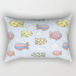 Hand drawn vector vintage seamless pattern with cute little airchips with strips, stars, dots and sq Rectangular Pillow