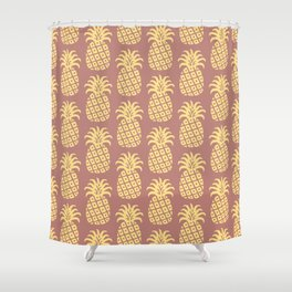 Mid Century Modern Pineapple Pattern Yellow and Brown Shower Curtain