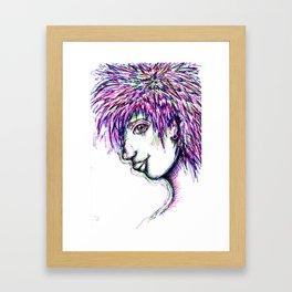 Girl w/ multi-colored hair  Framed Art Print