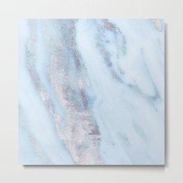 Light Blue Gray Marble Metal Print