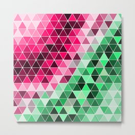 Pinkgreen Triangles Metal Print