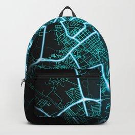 Uppsala, Sweden, Blue, White, Neon, Glow, City, Map Backpack