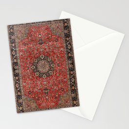Persia Tabriz Old Century Authentic Colorful Black Burnt Red Vintage Rug Pattern Stationery Cards