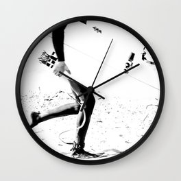 Surfers // Modern and Vintage Beach Aesthetic Photography of Cool Artsy Black and White Landscape Wall Clock