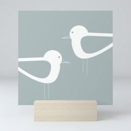 Shorebird Pair Minimalist Coastal Bird Couple in Light Blue-Gray and White Mini Art Print