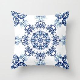blue garden mandala Throw Pillow