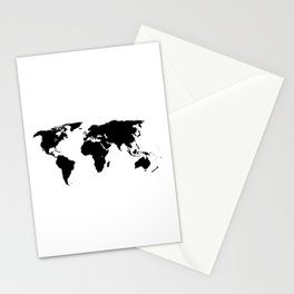 World Outline Stationery Cards