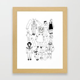 Hand Drawn Creepy Broken Victorian Dolls Print Framed Art Print