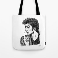 "david tennant Tote Bags featuring The Doctor - David Tennant - ""Fingers on Lips!"" by ieIndigoEast"