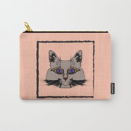 Cute gray cat. Muzzle cartoon cat in a box. Carry-All Pouch