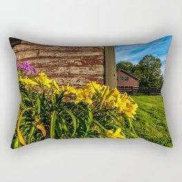 Yellow Flowers - Red Barn Rectangular Pillow