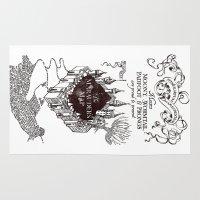 marauders Area & Throw Rugs featuring MARAUDERS MAP by ThreeBoys