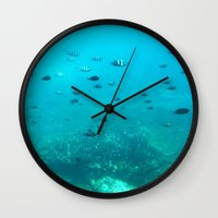 underwater Wall Clocks featuring Underwater by Shereen Yap