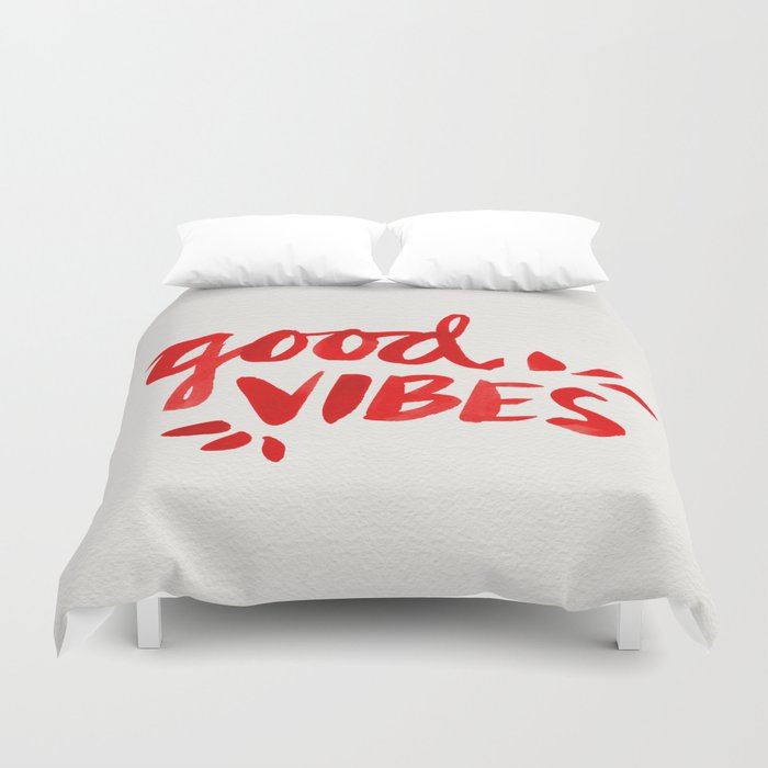 Good Vibes – Red Ink Duvet Cover