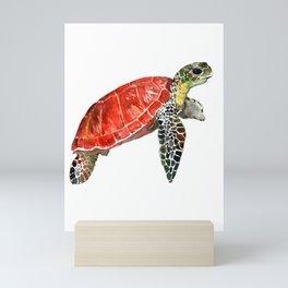 Sea Turtle red green turtle design, trutle illustration Mini Art Print