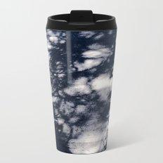 Navy Blue Pine Tree Shadows on Cement Metal Travel Mug