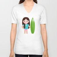 teacher V-neck T-shirts featuring My surf teacher by Golosinavisual