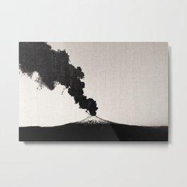 Mount Hood Oregon Black and White Volcano Eruption Metal Print