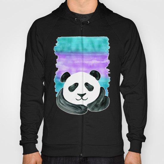 Lazy Panda - purple & aqua watercolor Hoody