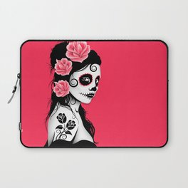 Pink Day of the Dead Sugar Skull Girl Laptop Sleeve