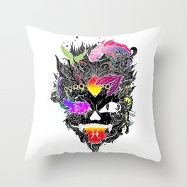 Capricorn Skull Zodiac Sign For December and January Birth Day Gift A Throw Pillow
