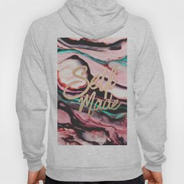 Self Made Typography Quote Pint Teal Marble Paint Hoody