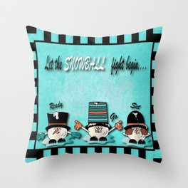 Let the Snowball Fight Begin Throw Pillow