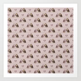 Owls in love (pink) Art Print