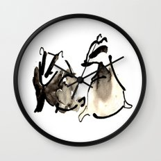 Badger Couple Wall Clock