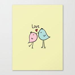 Chirp & Whistle Love Birds Canvas Print