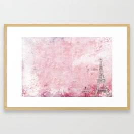 Paris abstract Landscpe On Pink Framed Art Print