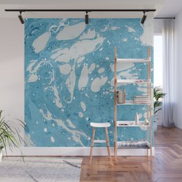 Blue Liquid Paint With Cream Splashes Abstract Design Wall Mural