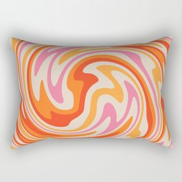 70s Retro Swirl Color Abstract Rectangular Pillow