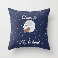 Peter Pan Neverland in Navy Throw Pillow