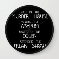 coven Wall Clocks featuring American Horror Story Four Seasons by Zharaoh