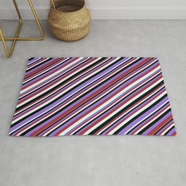Black, Purple, Brown, and Light Cyan Colored Stripes/Lines Pattern Rug