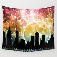 moonrise Wall Tapestries featuring Moonrise by Jenndalyn