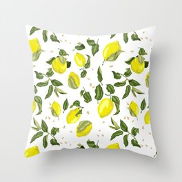 Citrus lemon with seeds and leaves pattern Throw Pillow
