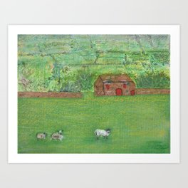 Sheep in the Countryside Art Print