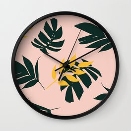 Tropical Leafs Pattern Pink Yellow Green Wall Clock