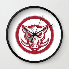 Wild Boar Razorback Head Angry Circle Retro Wall Clock
