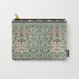 Asian Floral Pattern in Turquoise Blue Antique Illustration Carry-All Pouch