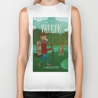 oregon Biker Tanks featuring Oregon by Santiago Uceda